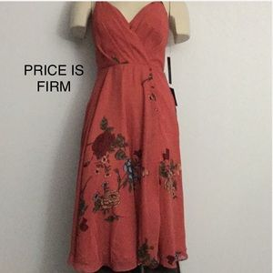 NWT Lulus Floral Twirl Dress Medium Clay Orange